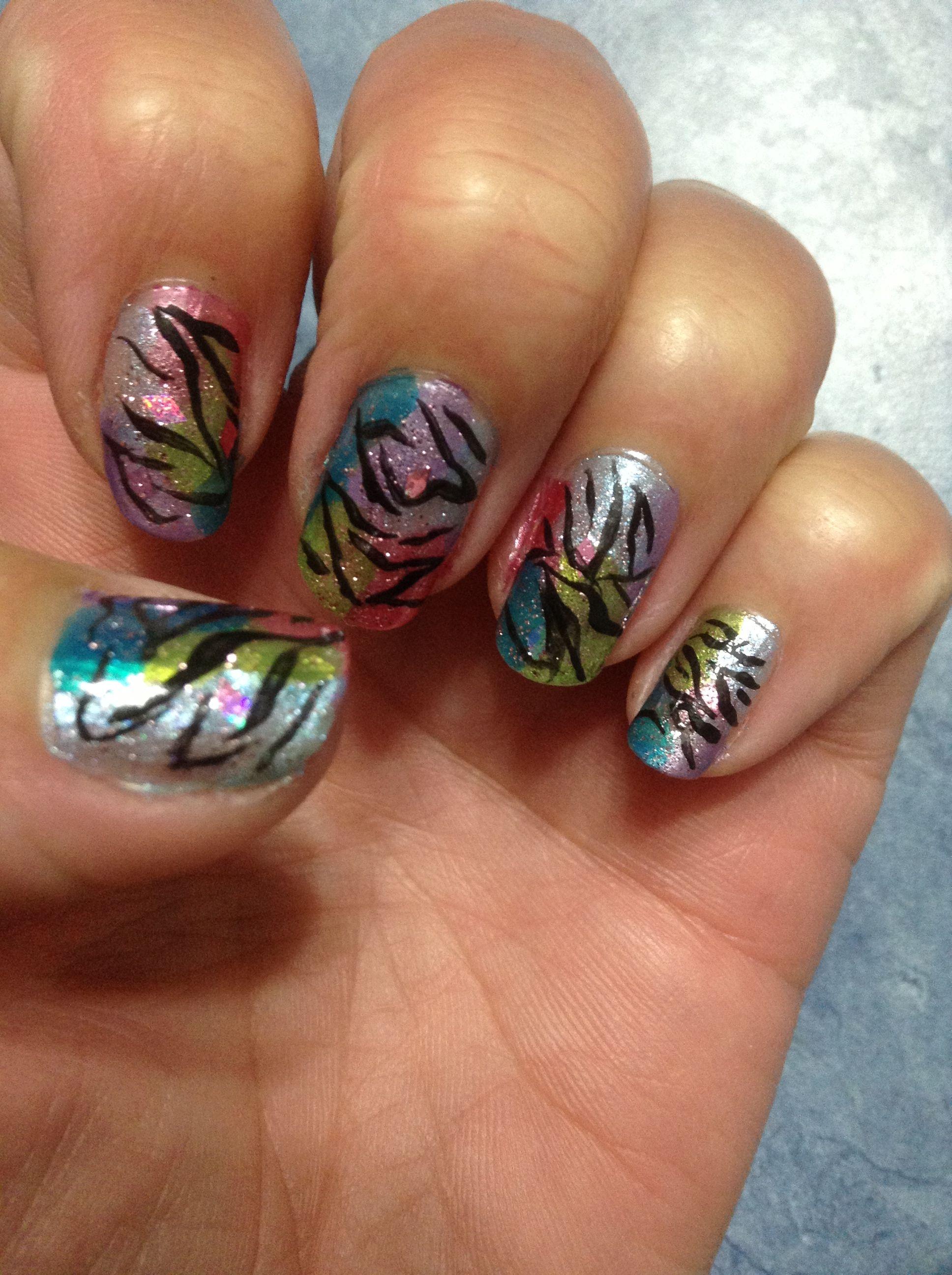 Colourful Zebra Patterned Nails. :)