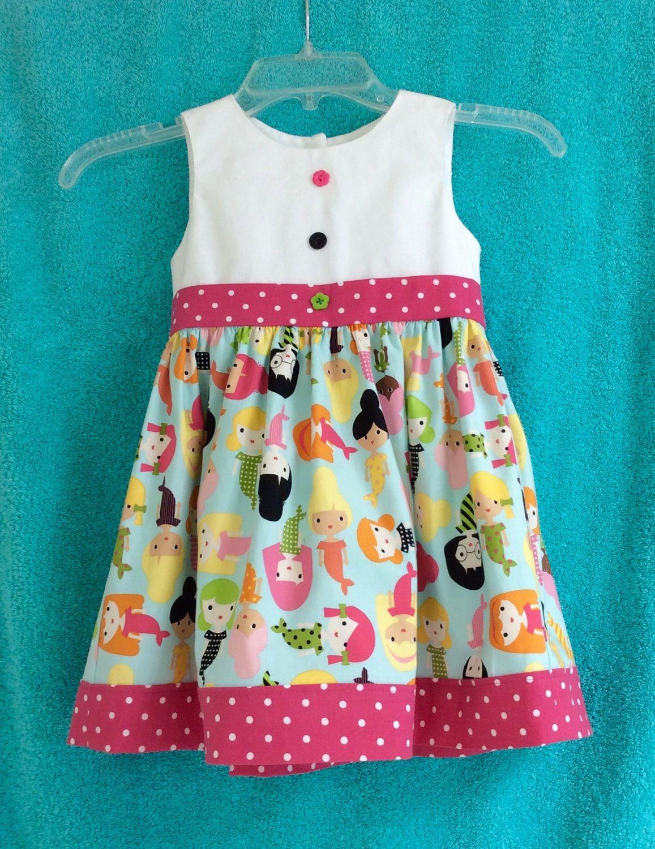 Girls Designers Cotton Dress Girlfriends In Blue Mermaids Polka Dots Pink Aqua White Black Kids Frocks Design Girls Cotton Dresses Baby Frocks Designs [ 1500 x 1157 Pixel ]