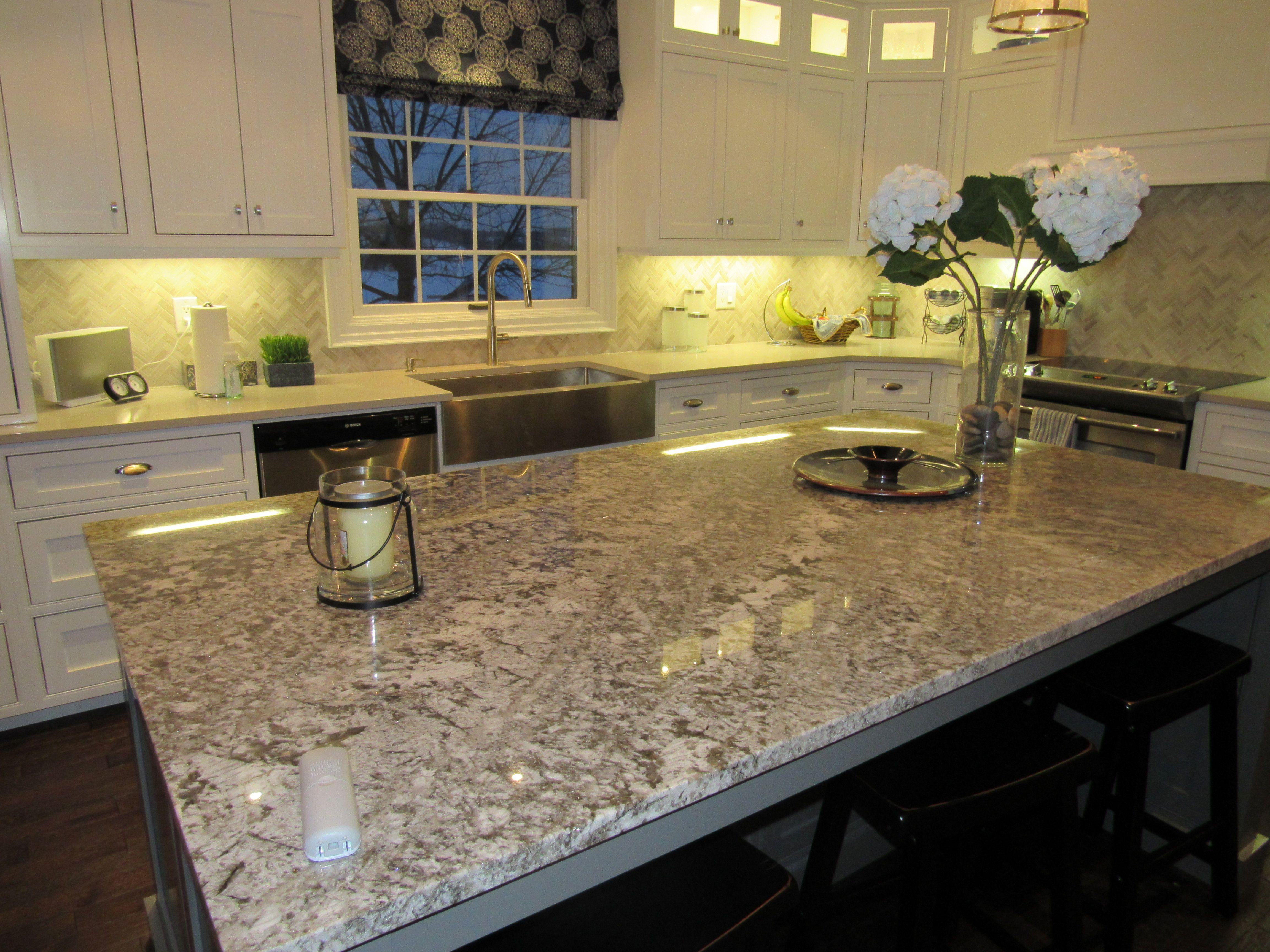 Bianco Antico Granite Island Countertop Clamshell Caesarstone
