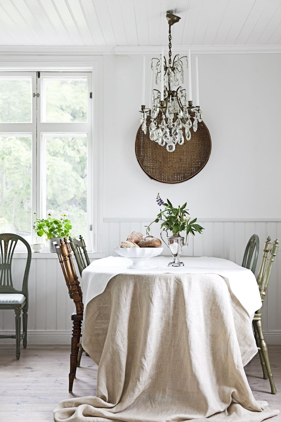 Chateau Chic Vintage Decor Interiors Draped Linen Tablecloth Mounted Baket On