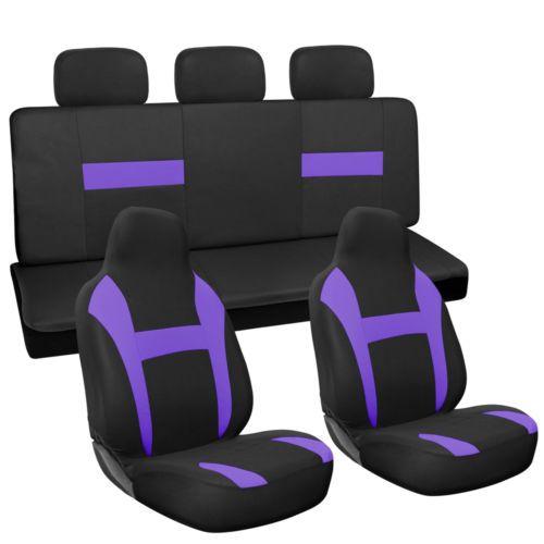 7pc Full Set Purple Black Integrated Chair + Bench Car