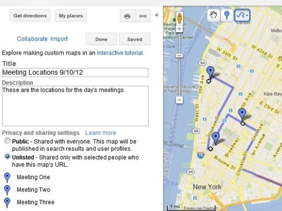Create a Google map using information pasted from a spreadsheet