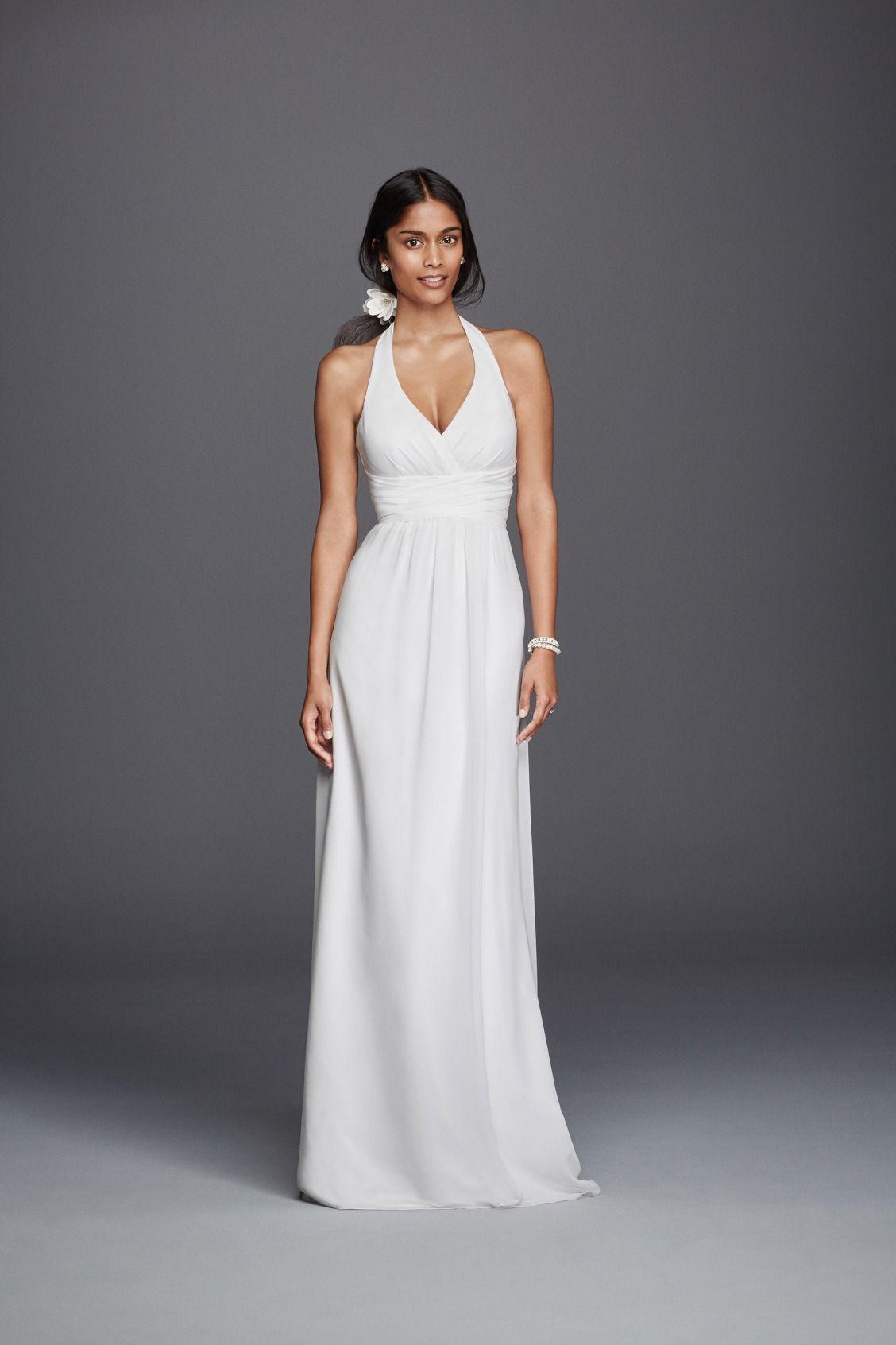 For the simple bride a chiffon sheath halter wedding dress by db