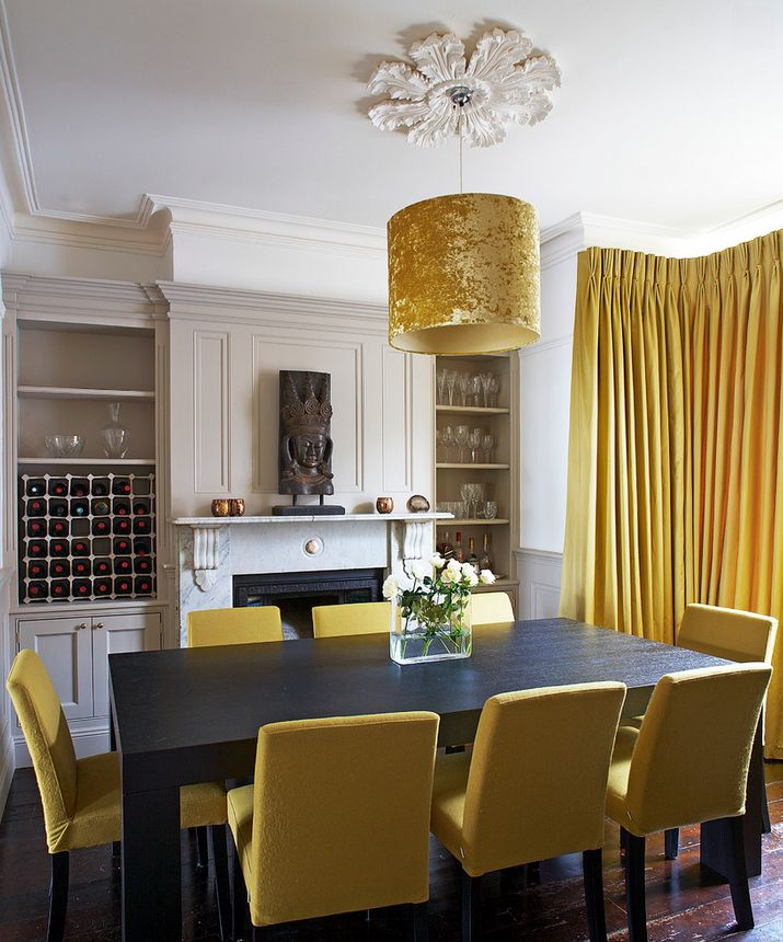 Merveilleux Mixing In Some Mustard: Yellow Ideas U0026 Inspiration Dining Room Fireplace, Dining  Room Chairs