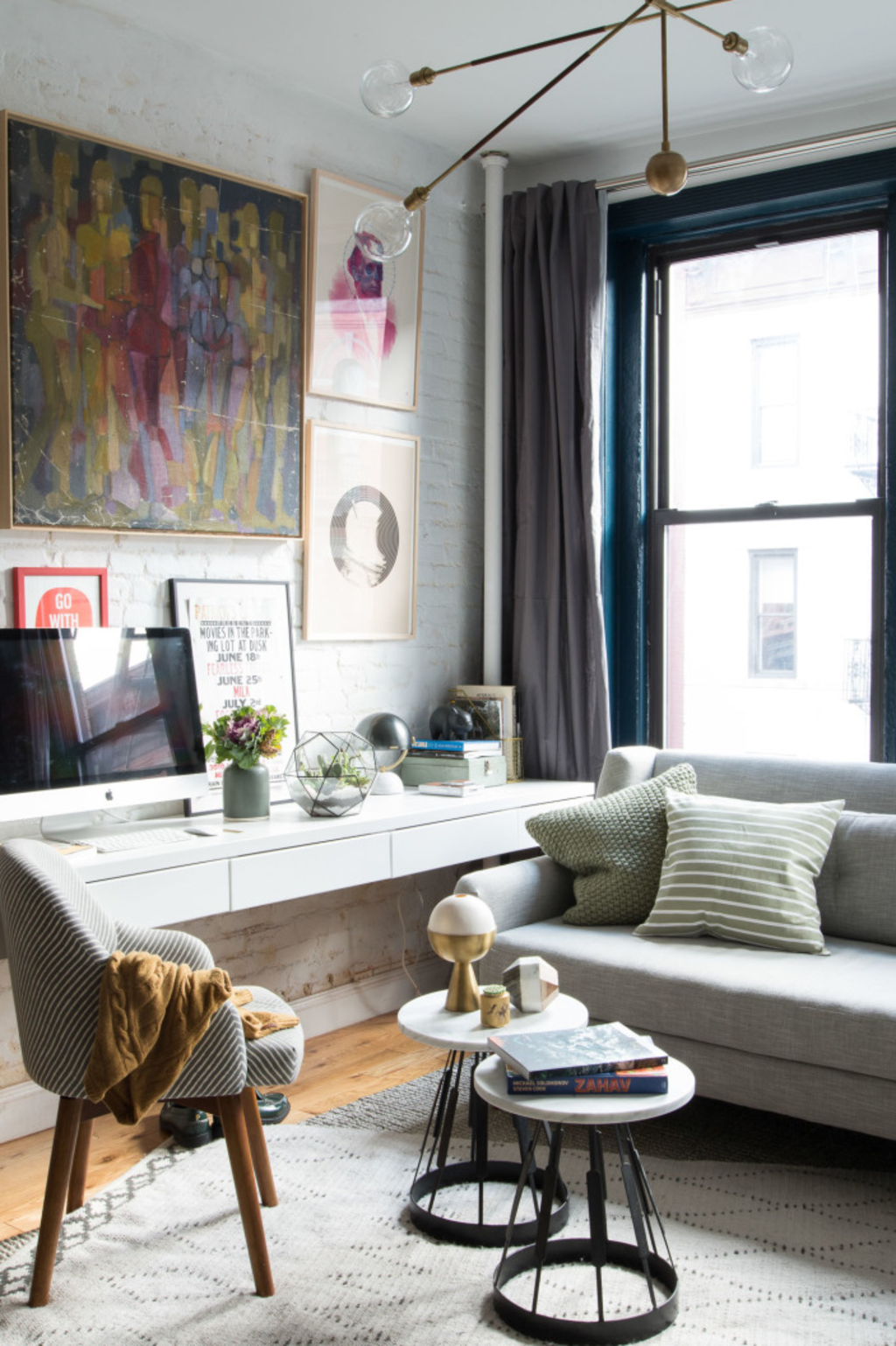 7 Ways To Fit A Workspace Into A Small Space Small Living Room Design Small Room Design Desk In Living Room
