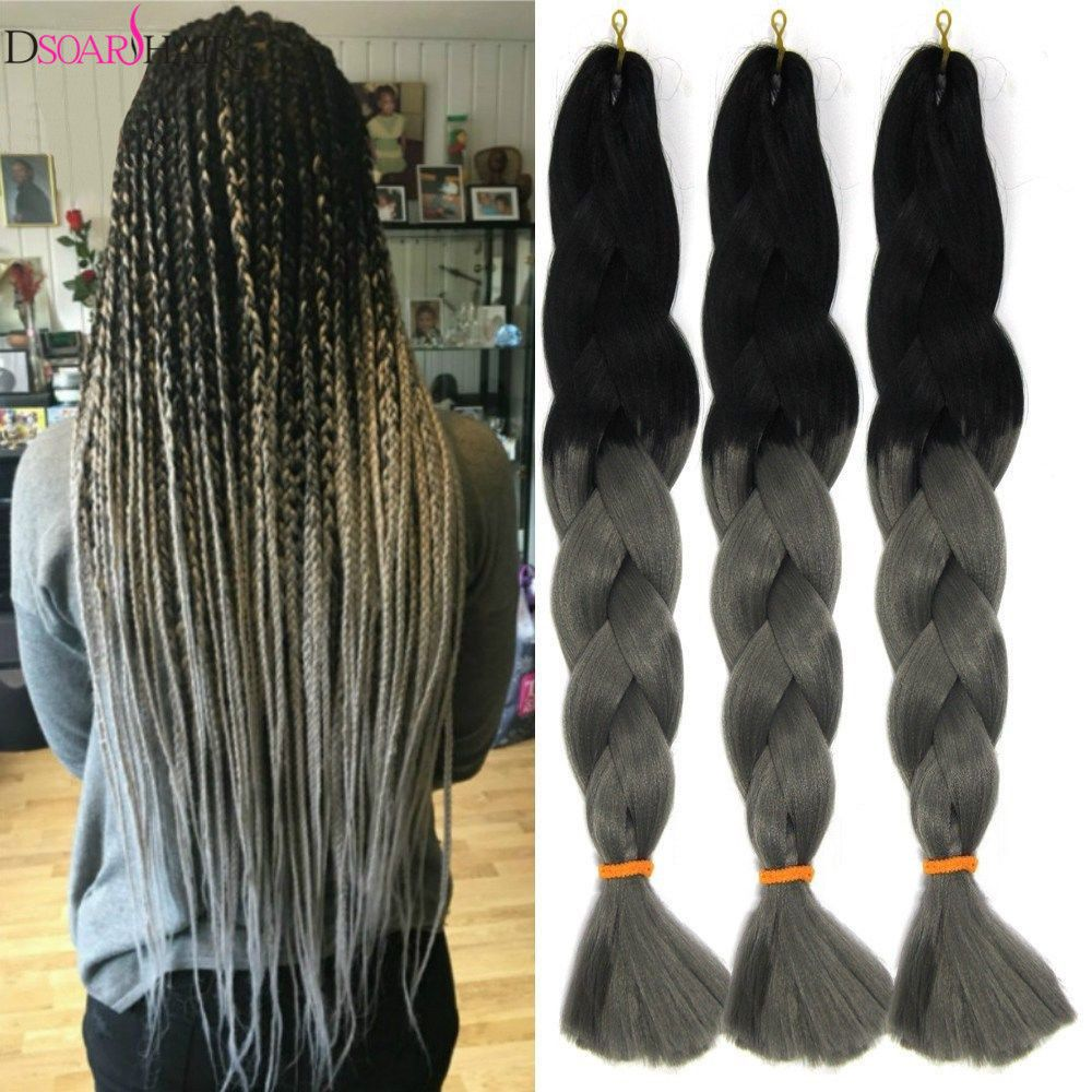6 19 24 Ombre Gray Synthetic Jumbo X Pression Braids Twist