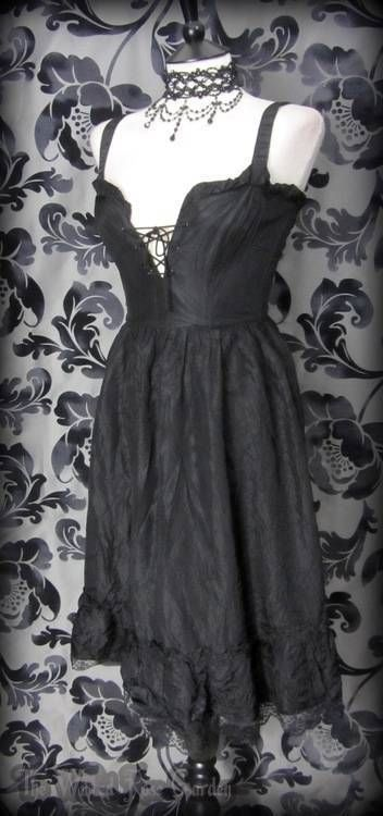 Gothic Romantic Black Ruffle Lace Corset Style Dress 8 Vintage 50's Rockabilly   THE WILTED ROSE GARDEN on eBay // Worldwide Shipping Available