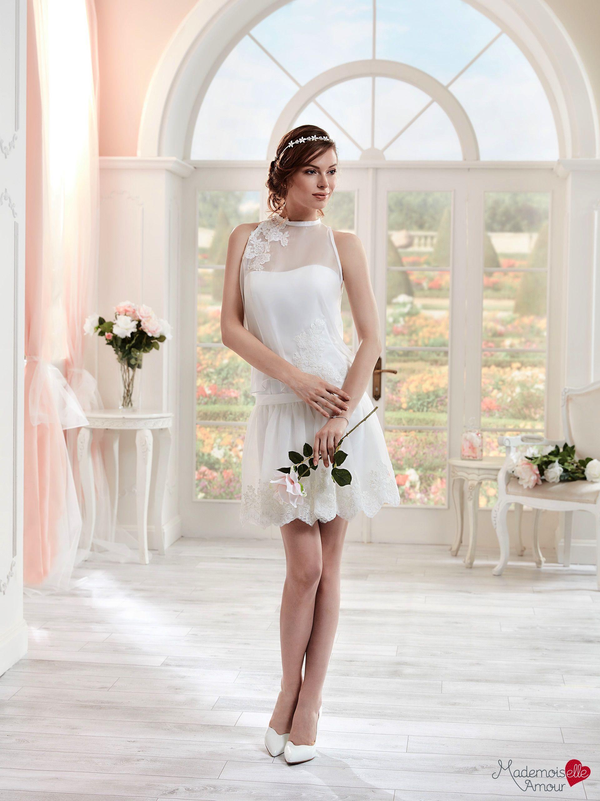 Robe mariée Mlle Alicia, robe de mariée courte, robe de mariage effet  blouse\u2026