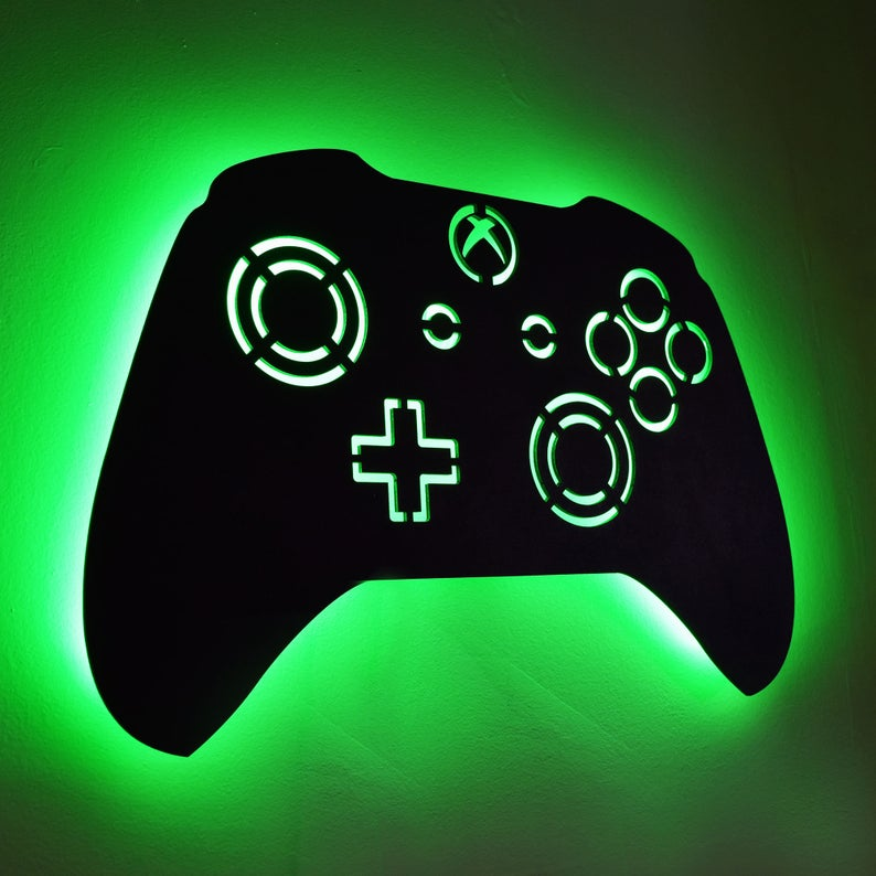 Led Lighted Xbox Controller Wall Art Video Game Art Game Etsy In 2020 Boys Game Room Game Room Decor Video Game Bedroom