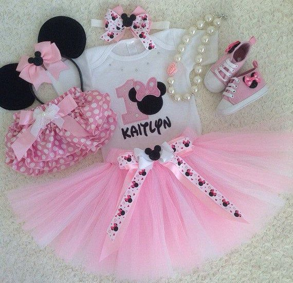 3-pcs set Minnie mouse Inspired Birthday outfit -includes Light pink Tutu and personalised top, matching headband