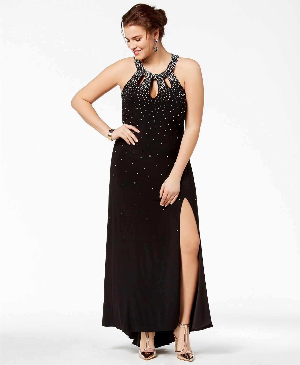20eda2977d Morgan   Company Trendy Plus Size Embellished Cutout Halter Gown - Dresses  - Plus Sizes - Macy s