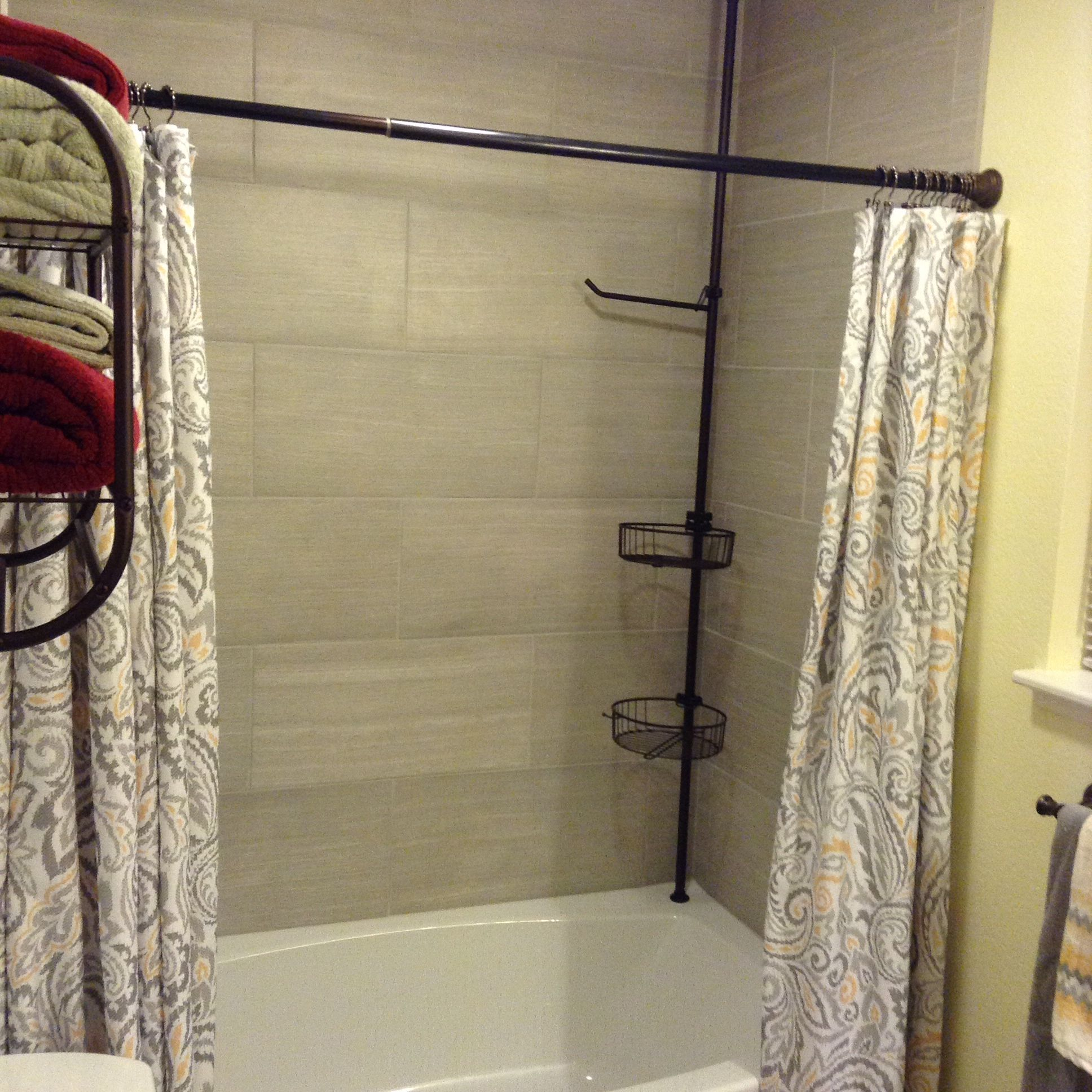 Love This Have Two Shower Curtains Hanging Like Drapes For A More