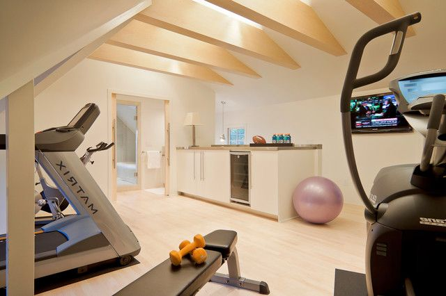Modern Home Gym Design With Bar Area For Protein Shakes Afterward For The Home Pinterest