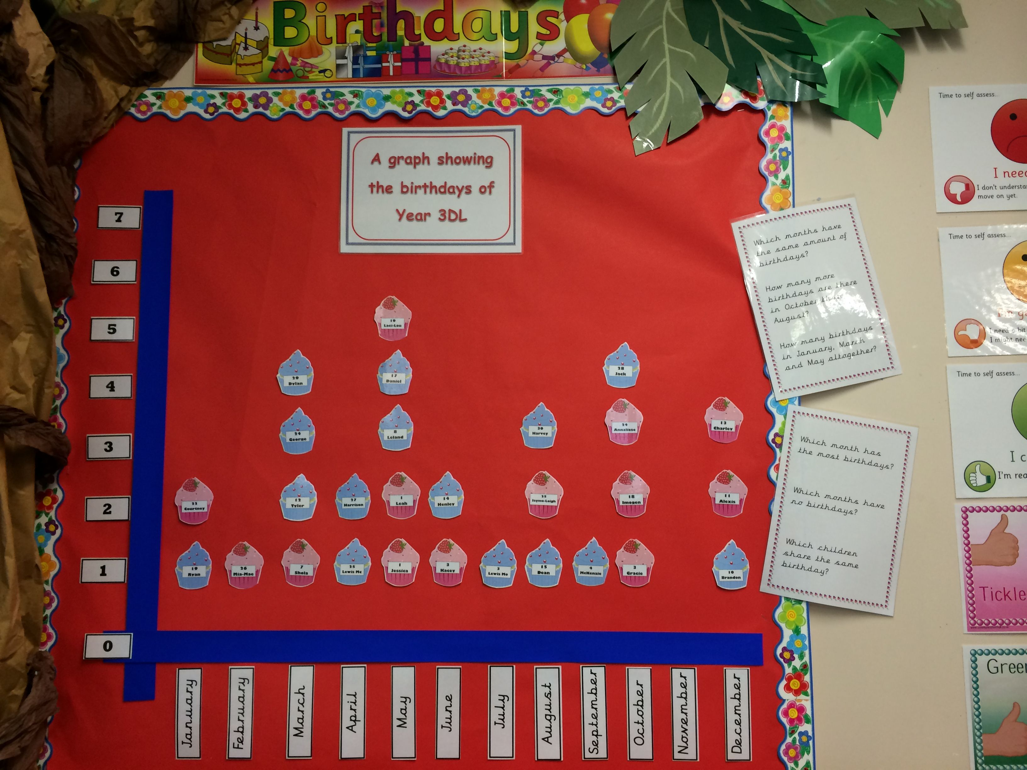 Birthday Graph Display With Data Handling Questions