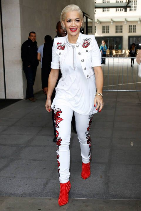 Rita Ora's red lip game never fails to impress.
