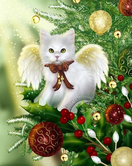 Angel kitty cat xmas ornament for your tree: Yuletide Joy by Melissa Dawn