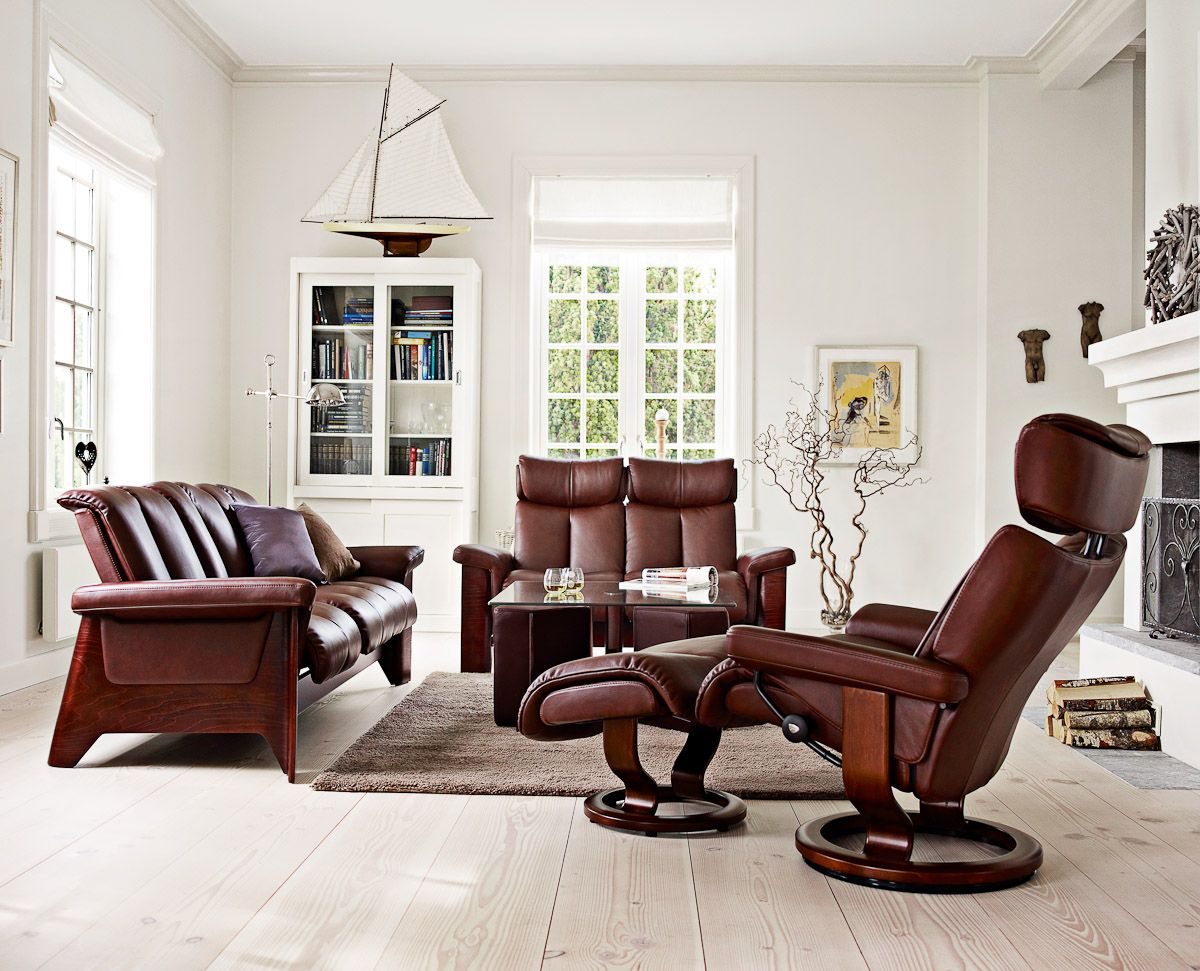 Classic Scandinavian Interior For Living Room: Gorgeous Scandinavian Design  Light Flooring And Ekornes Stressless Chair Used Brown Leather And Wooden  ...