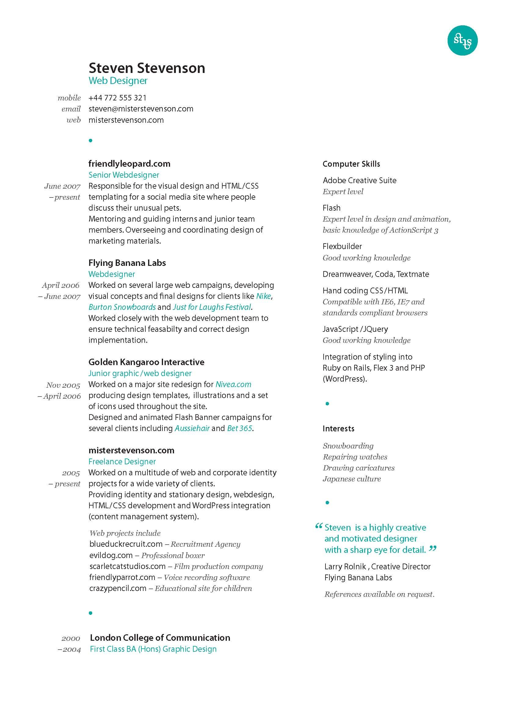 another great design taken from uxgeek co best resume layout middot another great design taken from uxgeek co