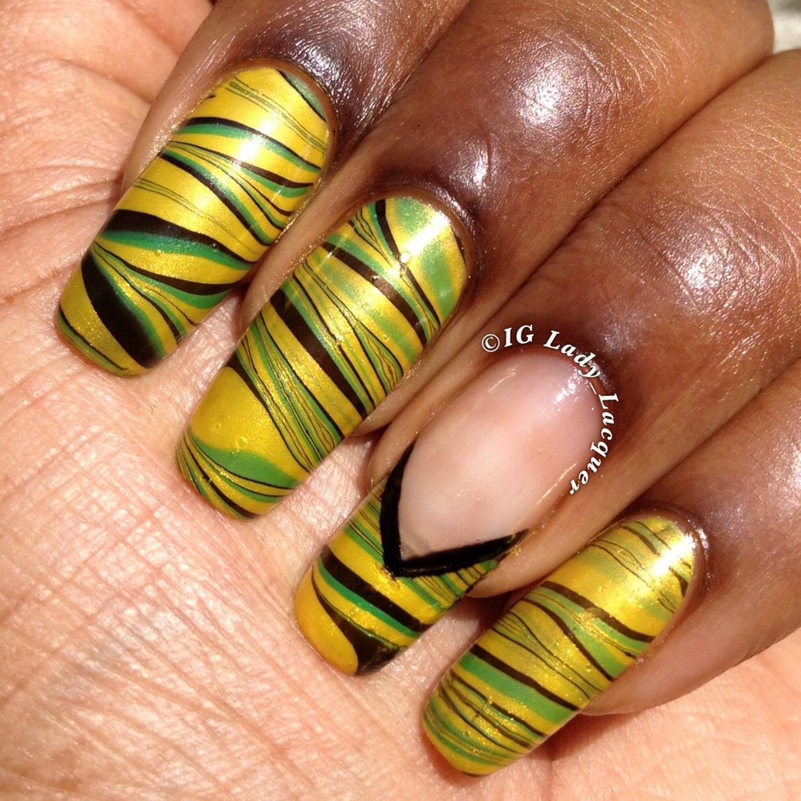LadyLacquer #Jamaican flag inspired #watermarble #nailart #Jamaica ...
