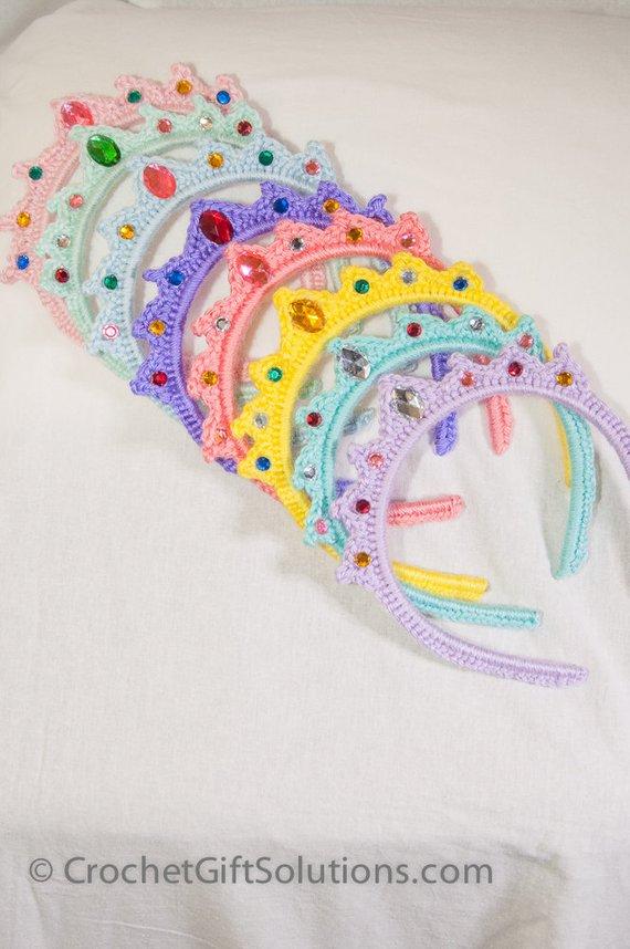 Princess Tiara Party Pack - 15 Tiaras -- 15% Discount! Princess Tiara Headband, Crown Headband, Birthday Party Favor, Princess Crown #crochetedheadbands