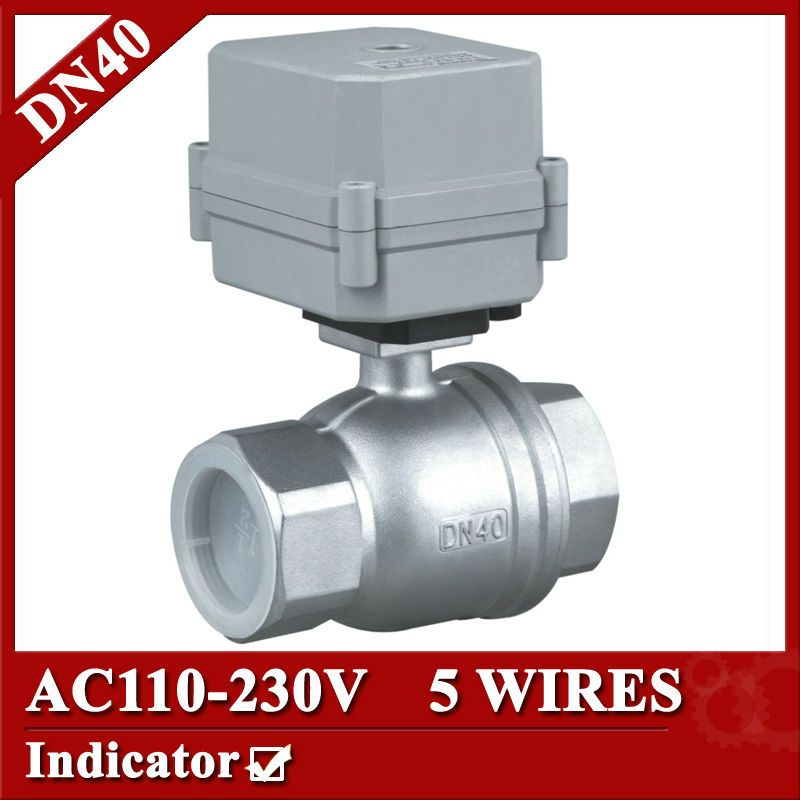 1 1 2 Ss304 Electric Valve 2 Way Dn40 Electric Actuator Valve 5 Wires 110v To 230v Electric Ball Valve With Signal Fee Stainless Steel 304 Valve Hvac System