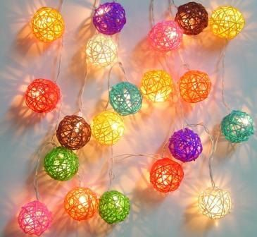 Rattan Cane Wood Battery Operated Fairy Lights Mixed Colours