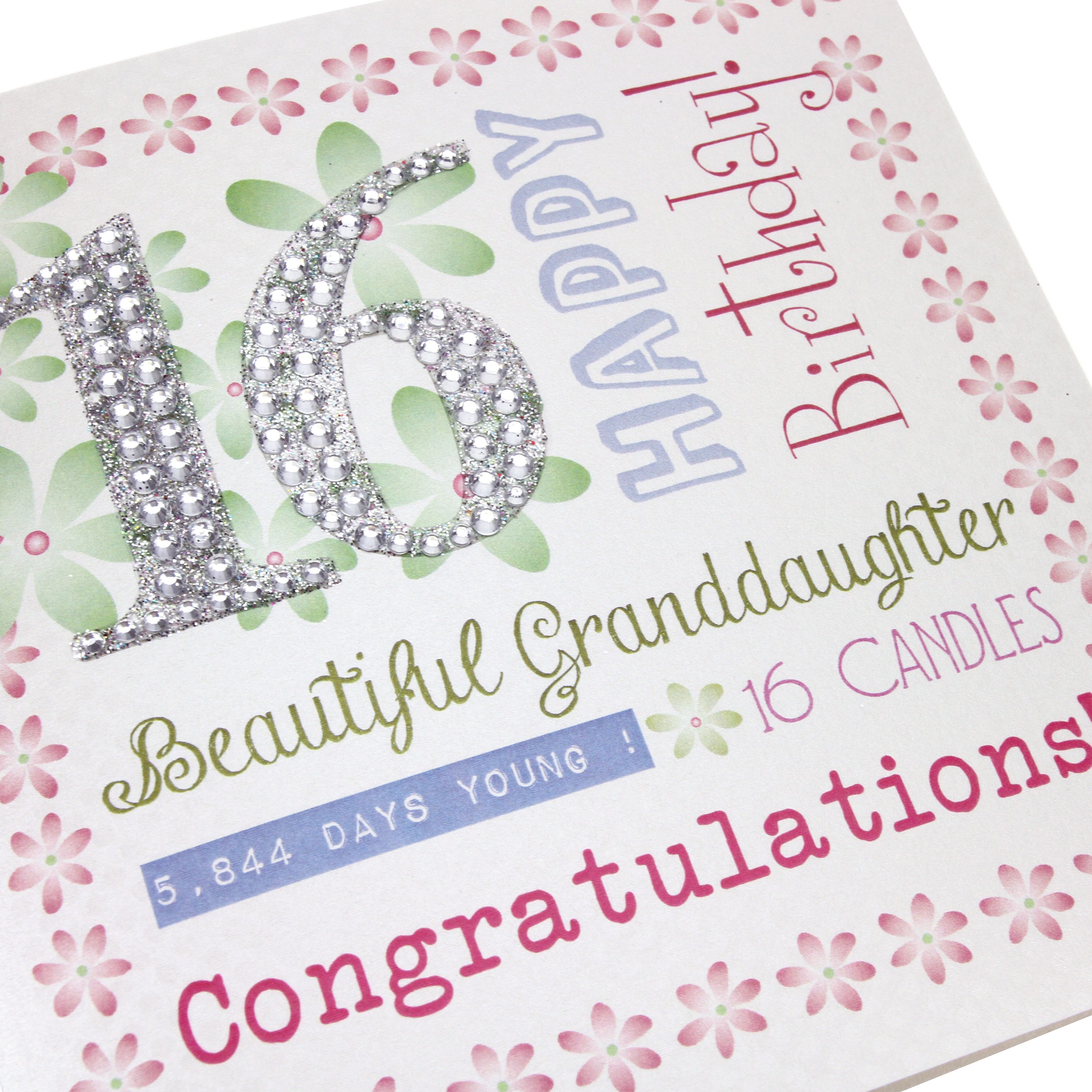 Handmade 16th Birthday Card Pink Pretty Green Flowers Stick On Diamante Glitter Numbers