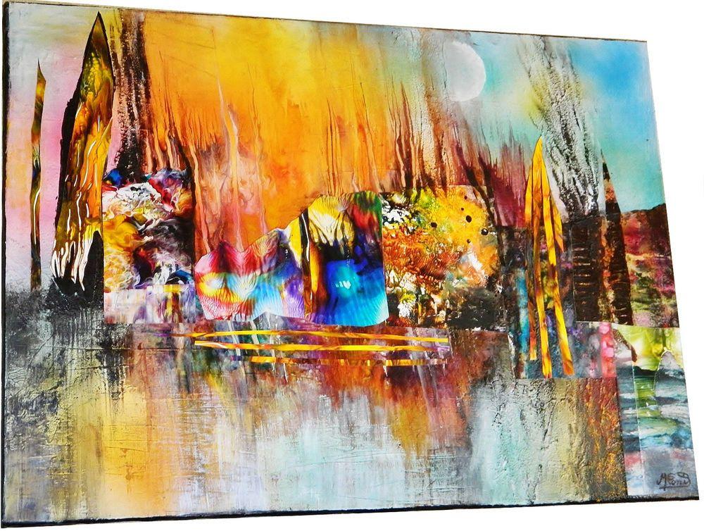 tableau abstrait peinture acrylique sur toile paysage abstrait peinture abstraites pinterest. Black Bedroom Furniture Sets. Home Design Ideas