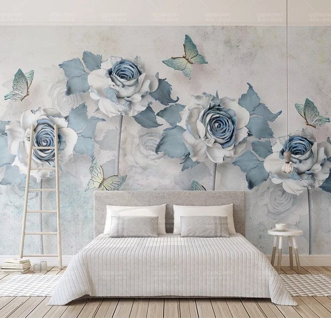 3D Blue Rose and Butter fly Removable Wallpaper,Peel