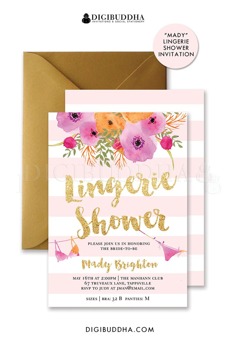 Lingerie shower printable invitation Customize add text and – Lingerie Party Invitation