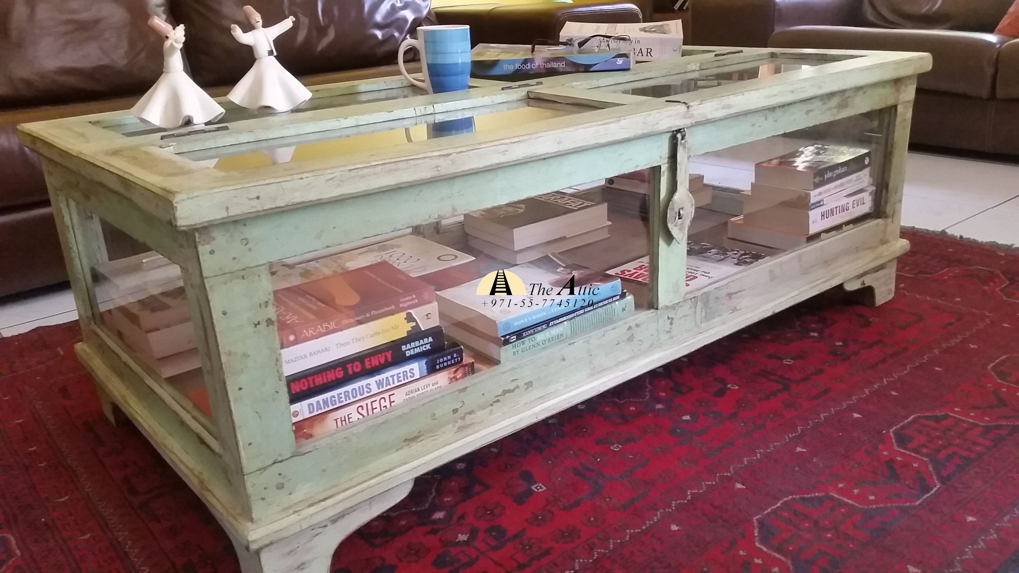 Coffee Table Chest Made By Upcycling A Vintage Door Glass Panes Make This A Unique Display Case D Display Coffee Table Chest Coffee Table Coffee Table Design [ 1836 x 3264 Pixel ]