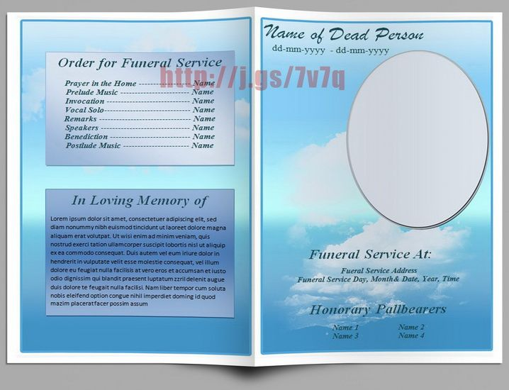 Basic Blue Theme Funeral Program Template. Download http ...