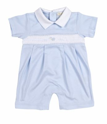 f80e0de00a Kissy Kissy Baby Boys Blue Smocked Baby Lamb Playsuit with Collar ...