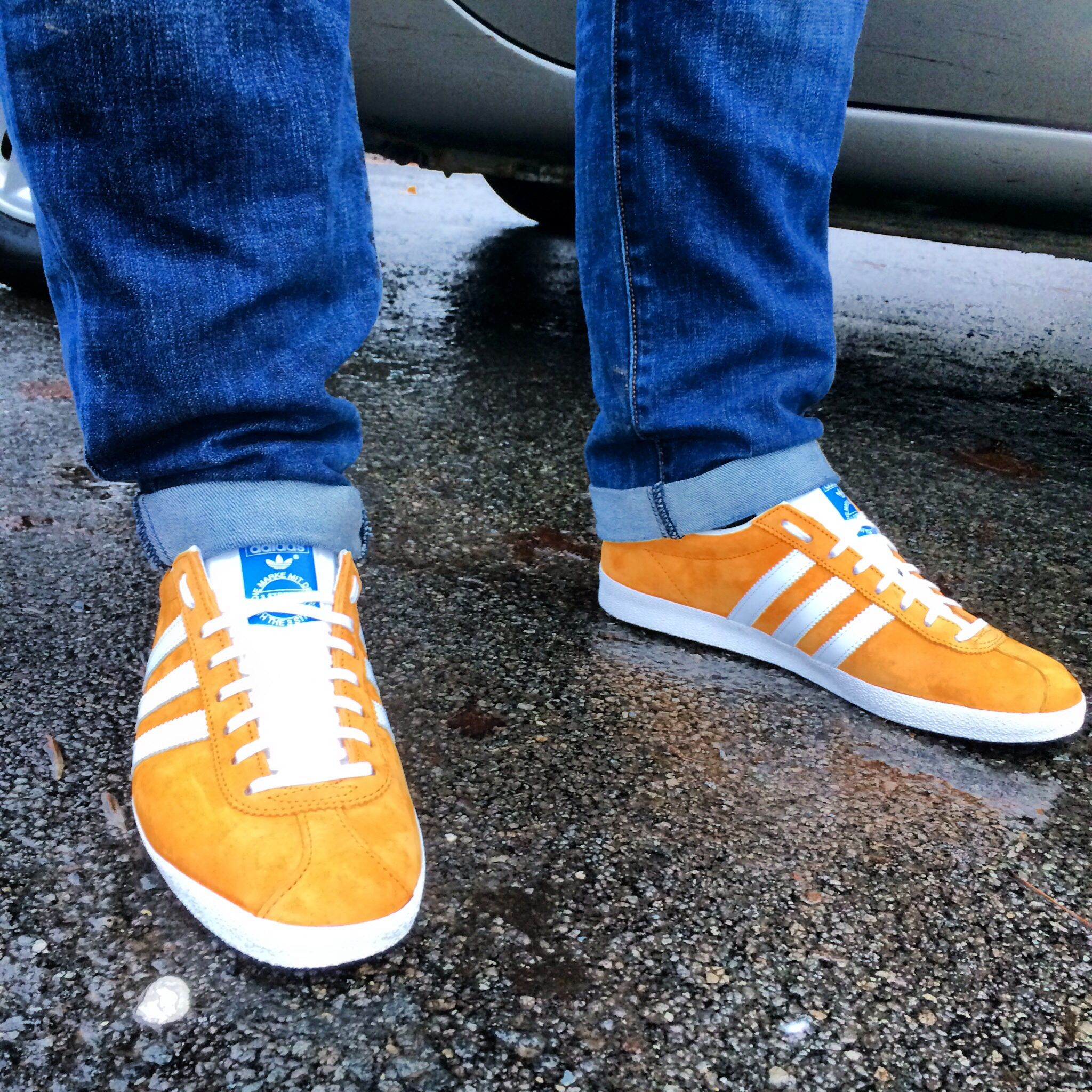 yellow adidas gazelle trainers