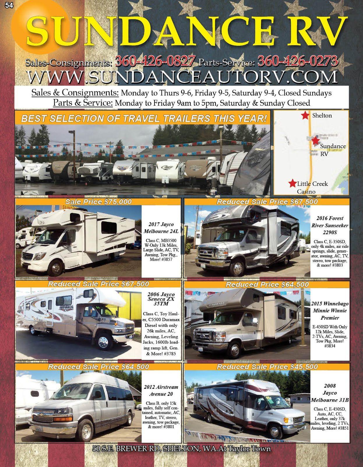 Sundance Auto Rv Center Sales Service Parts Consignments Check Out This Weeks Ad Www Sundanceautorv Com Sundance Travel Trailer Rv