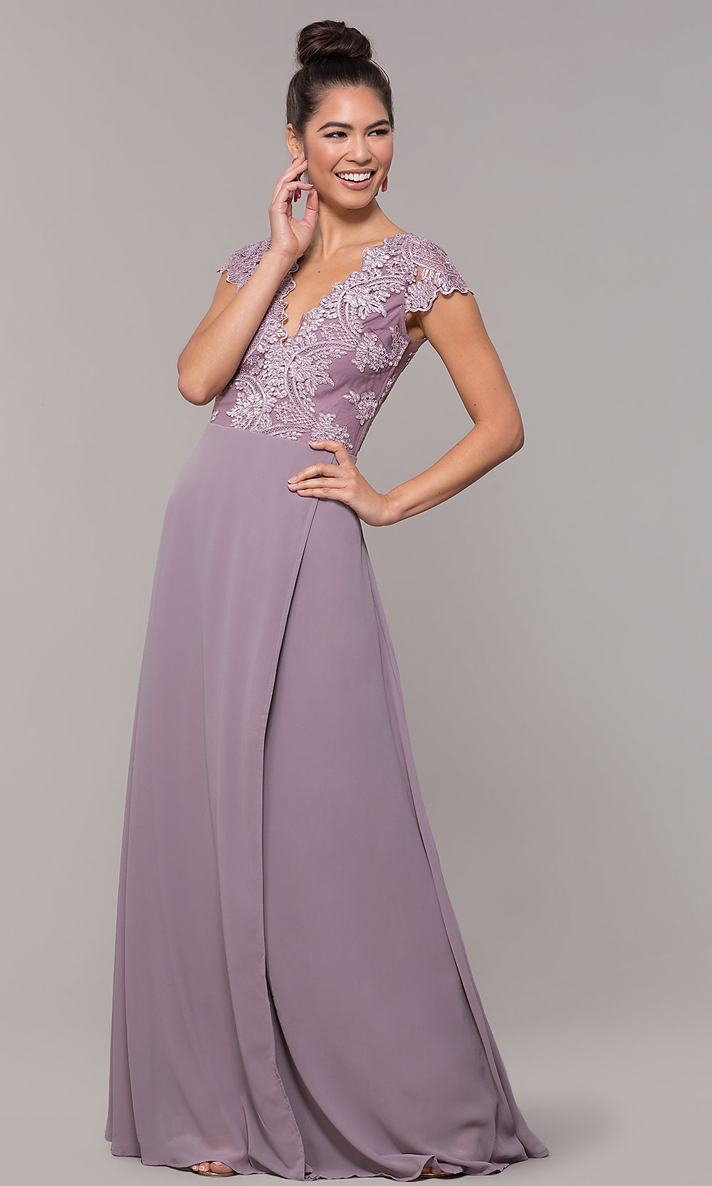 Long Faux-Wrap Ivory Chiffon Prom Dress by PromGirl