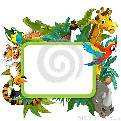 Banner Frame Border Jungle Safari Theme Illustration For The Children Jungle Safari Safari Theme Jungle Pictures