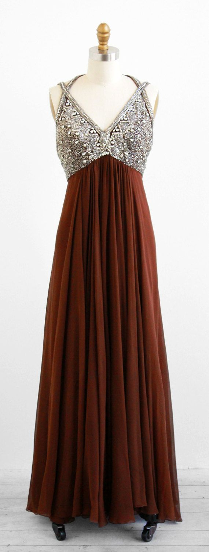 Vintage s dress s dress rhinestones and brown silk