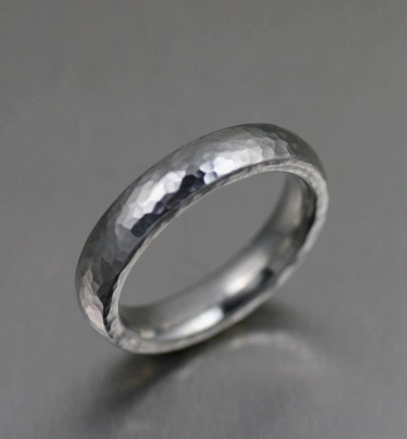 5mm Hammered Stainless Steel Mens Ring Mens Hammered Wedding Rings