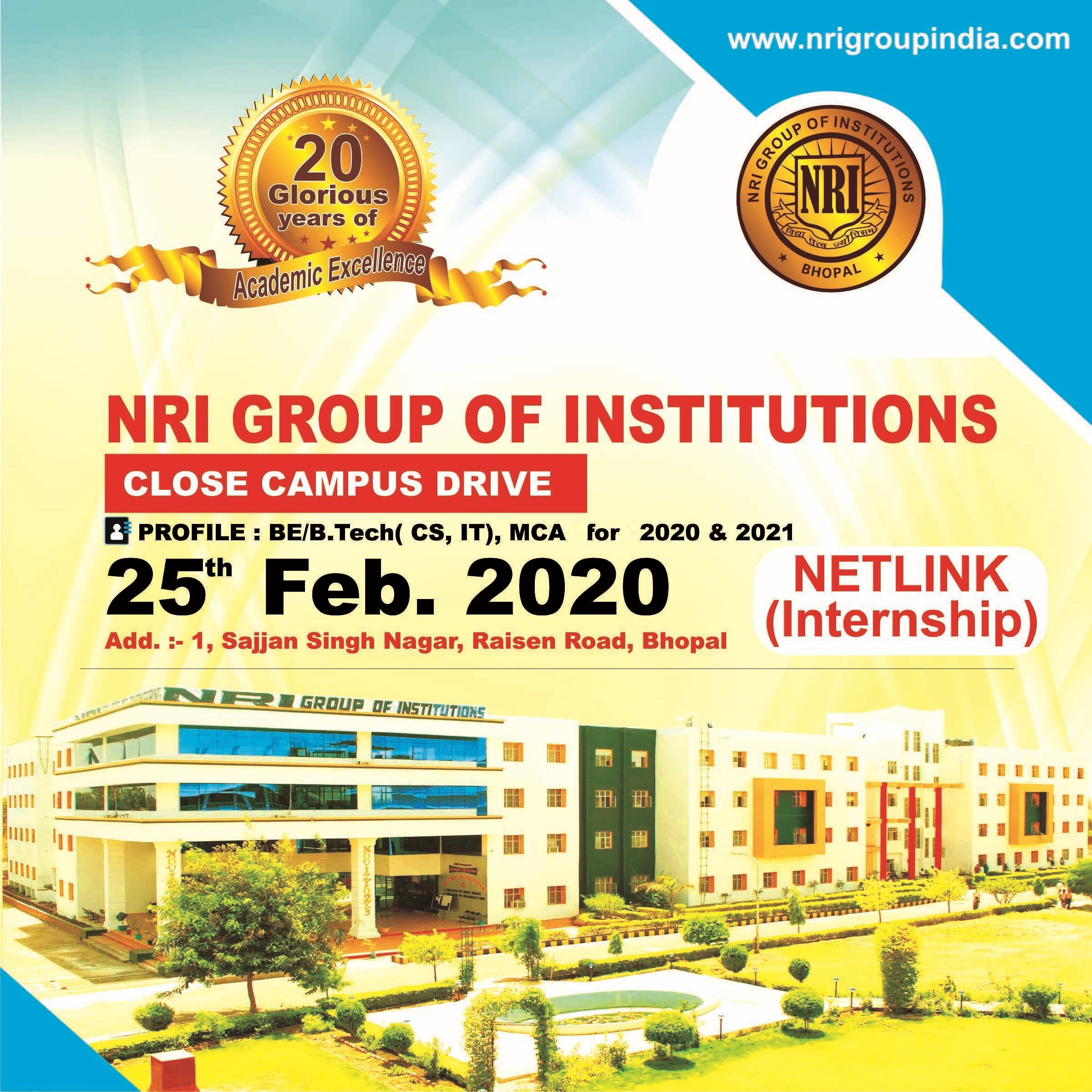 Close Campus Drive Of Netlink Internship Nri Group Bhopal In