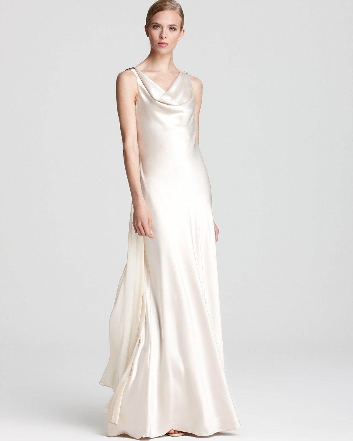 Mary abs by allen schwartz embellished gown sleeveless cowl back