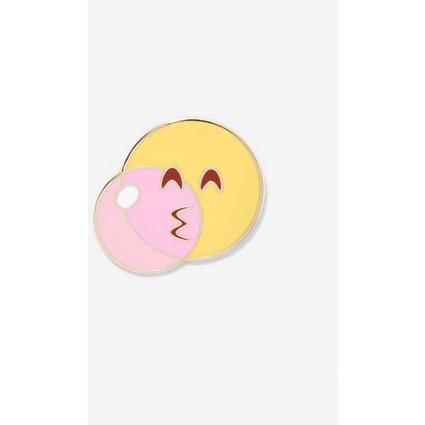 Popglory Bubblegum Emoji Pin ($12) ❤ liked on Polyvore featuring jewelry, brooches, yellow, pin jewelry, yellow jewelry and pin brooch