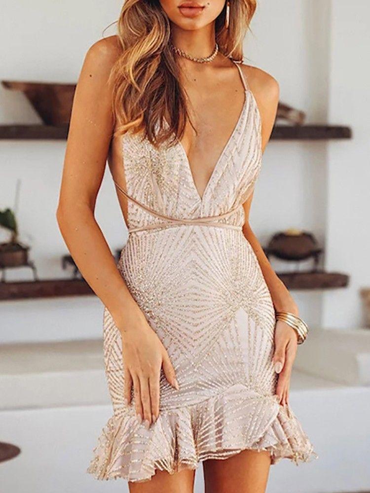69481535f2 Glitter Ruffles Design Open Back Party Dress (S/M/L/XL) $35.99 ...