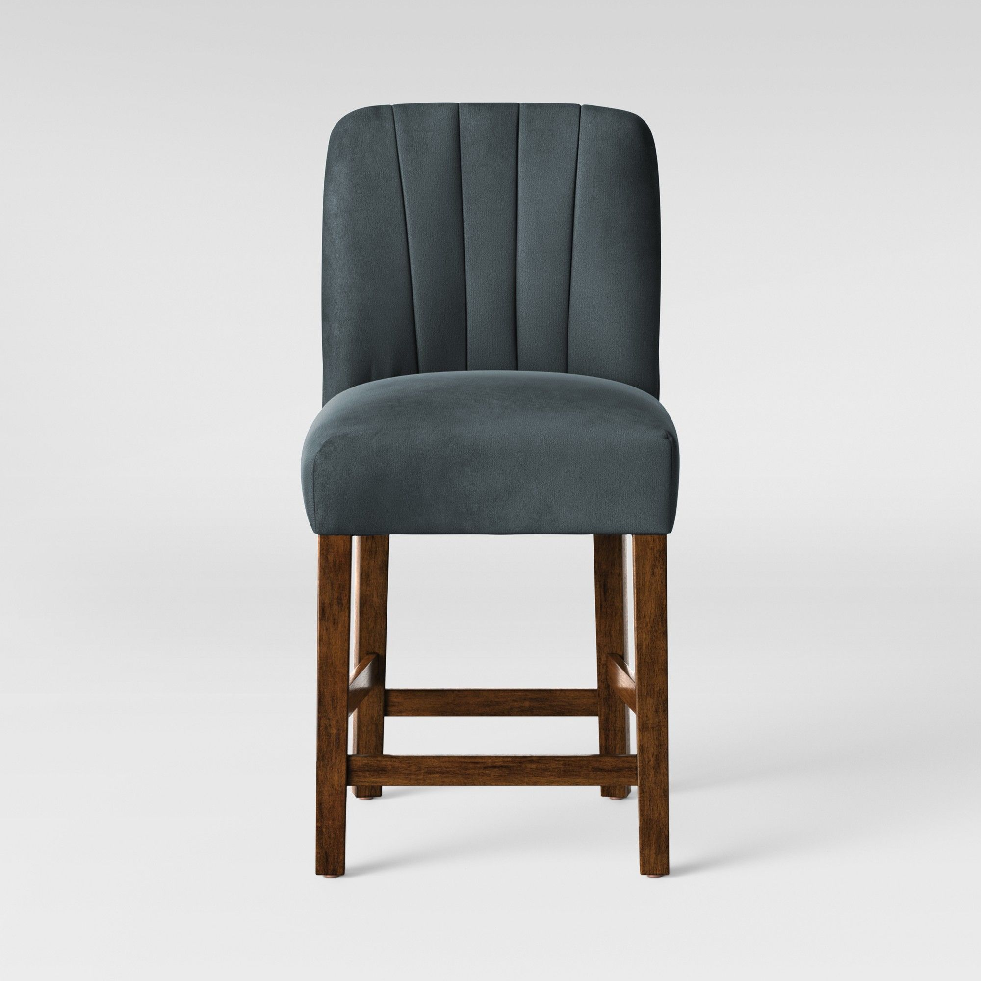 Pleasing Malia 25 Channel Back Tufted Counter Stool Velvet Blue Ibusinesslaw Wood Chair Design Ideas Ibusinesslaworg