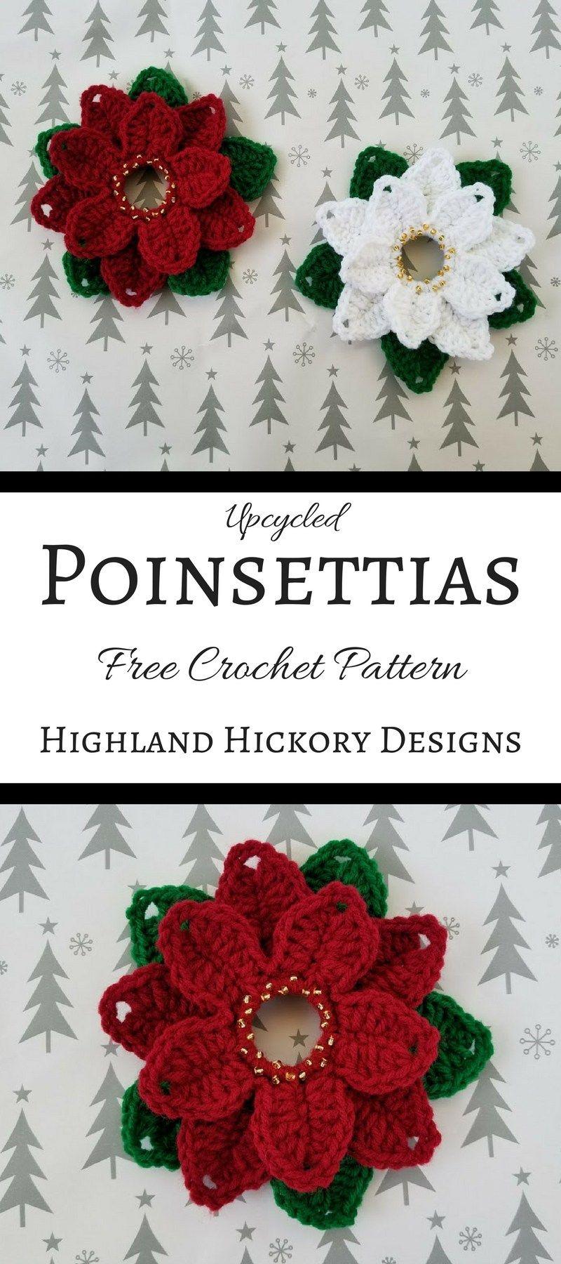 Upcycled Poinsettias | Poinsettia, Crochet and Crochet christmas