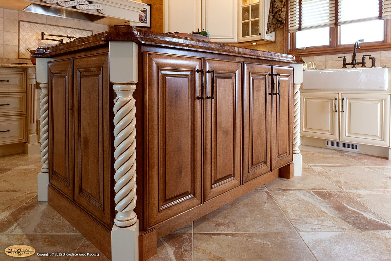 The Maple Autumn Island Is Accented With Ebony Hand Glazing Diagonal Corner Posts In A Spiral Pat Kitchen Layouts With Island Walnut Island Top Kitchen Layout