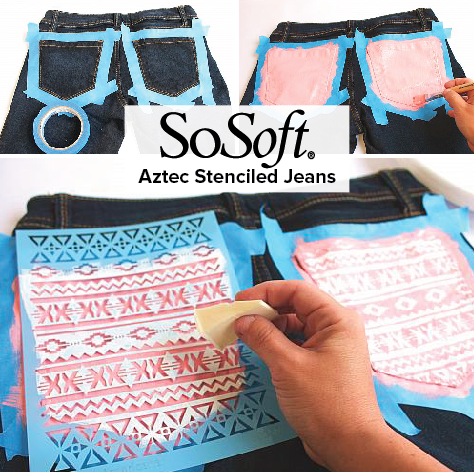 Using Sosoft Fabric Paint An On Trend Tribal Print On The Pockets Gives Everyday Jeans A Designer Look De Painted Jeans Aztec Paintings Sunshine In My Pocket