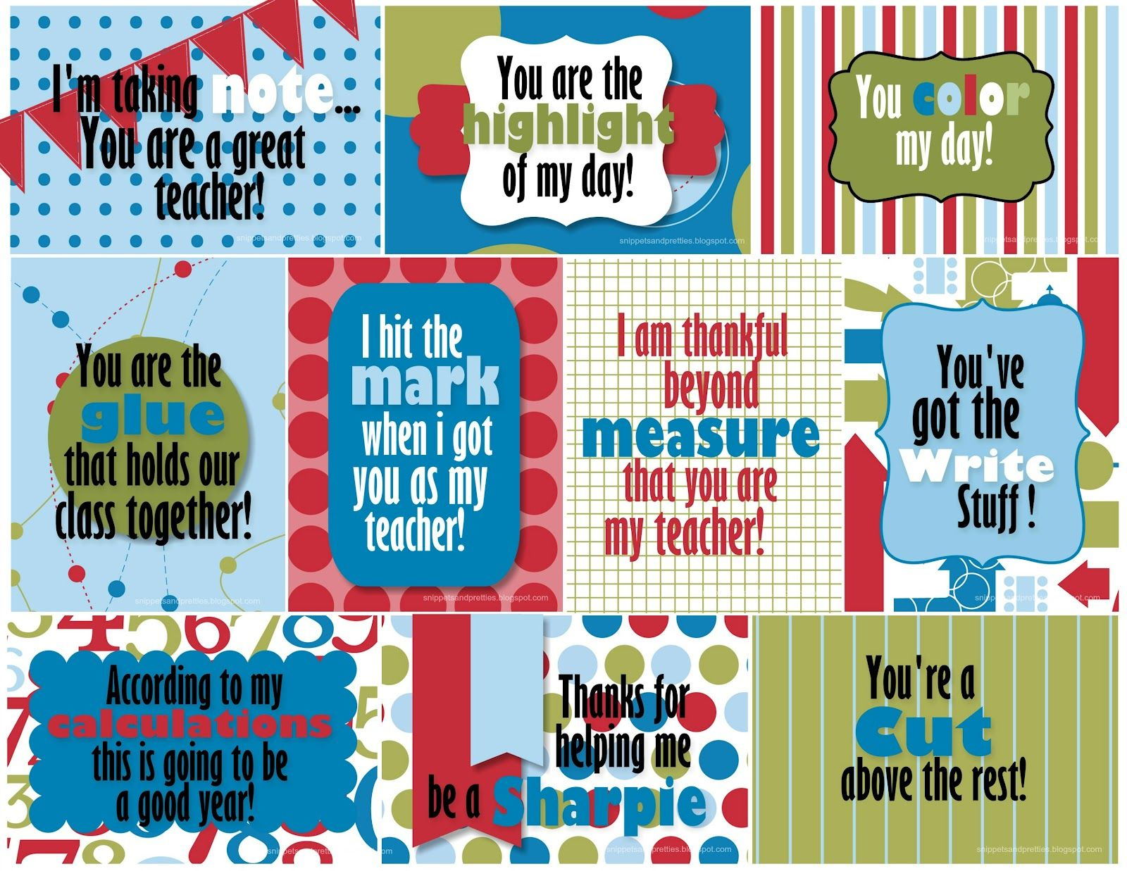Snippets and Pretties: Teacher Thank you   thank you   Pinterest ...