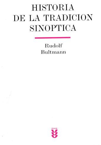 historia de la tradicion sinoptica rudolf bultmann pdf
