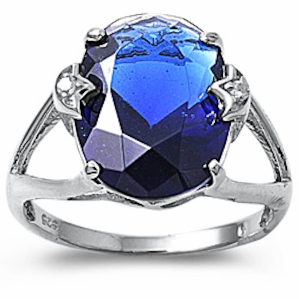 Details About 12 Carat Sapphire Cocktail Fashion 925 Sterling Silver Ring Size 5 10 Top Sell Sterling Silver Rings Diamond Ice Silver